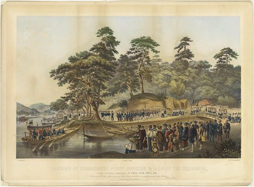 Landing of Commodore Perry, Officers and Men of the Squadron, to Meet the Imperial Commissioners at Simoda, Japan, June 8, 1854. Sitter: Matthew Calbraith Perry, 10 Apr 1794 – 4 Mar 1858. Date: 1850s. Record ID: npg_NPG.82.110.