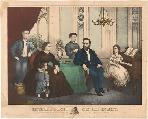 Ulysses Simpson Grant and Family. Sitters: Ulysses Simpson Grant, 27 Apr 1822 – 23 Jul 1885; Julia Boggs Dent Grant, 26 Jan 1826 – 14 Dec 1902; Frederick Dent Grant, 30 May 1850 – 11 Apr 1912; Jesse Root Grant, 1858 – 1934; Ulysses Simpson Grant, Jr., 22 Jul 1852 – 25 Sep 1929; Ellen Wrenshall Grant, 4 Jul 1855 – 30 Aug 1922. Date: 1880s. Record ID: npg_NPG.82.34.
