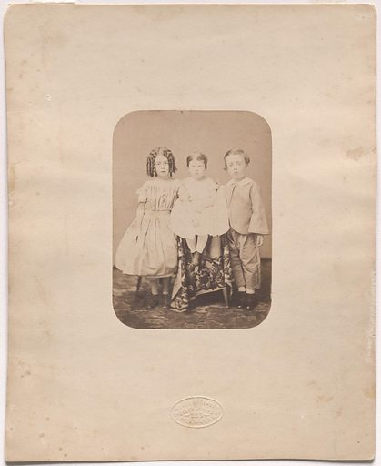 Meade Family As Children. Sitters: Kate Frances Meade, 19 Mar 1852 – 1921; Sarah Meade, 1855 – 1936; Harry R. Meade, Jr., born mid 19th Century. Date: 1850s. Record ID: npg_S_NPG.85.281.
