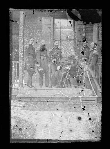 Winfield Scott and staff. Sitter: Winfield Scott, 13 Jun 1786 – 29 May 1866. Date: 1860s. Record ID: npg_NPG.81.M1392.