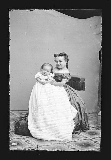 Lavinia Stratton and baby. Sitter: Lavinia Warren Stratton, 31 Oct 1841 – 25 Nov 1919. Date: 1860s. Record ID: npg_NPG.81.M261.