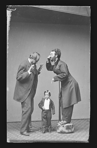 Lilliputian King, with John Drummond and Professor Cromwell. Sitters: John Drummond; Professor Cromwell. Date: 1860s. Record ID: npg_NPG.81.M2230.