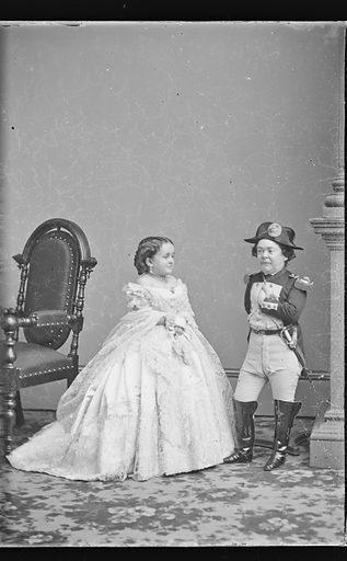 Charles and Lavinia Stratton. Sitters: Charles Sherwood Stratton, 4 Jan 1838 – 15 Jul 1883; Lavinia Warren Stratton, 31 Oct 1841 – 25 Nov 1919. Date: 1860s. Record ID: npg_NPG.81.M3633.2.