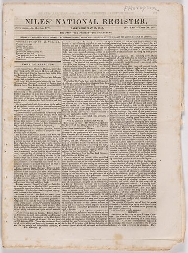 """Daguerrean Process"" in Niles' National Register. Date: 1840s. Record ID: npg_AD_NPG.77.4."