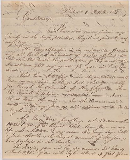 Letter from Joseph Delaplaine to Messr. Rapelye, Clarke & Co. Date: 1810s. Record ID: npg_AD_NPG.79.13.