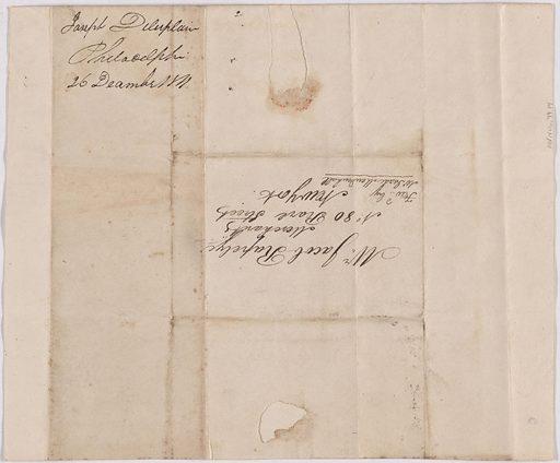 Letter from Joseph Delaplaine to Jacob Rapelye. Date: 1810s. Record ID: npg_AD_NPG.79.14.