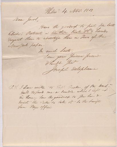 Letter from Joseph Delaplaine to Jacob Rapelye. Date: 1810s. Record ID: npg_AD_NPG.79.15.