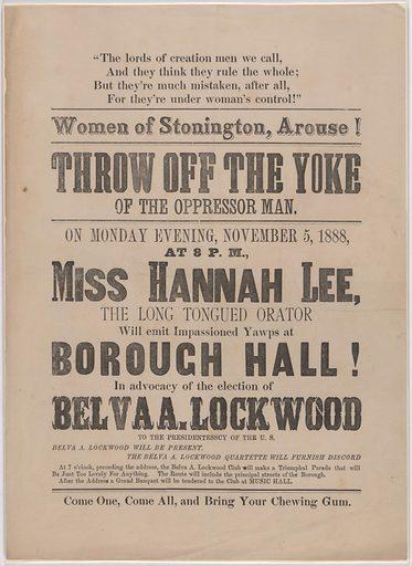 Women of Stonington, Arouse! Date: 1880s. Record ID: npg_AD_NPG.81.1.
