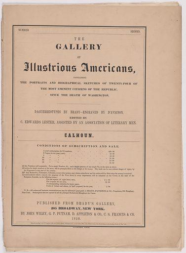 Biography of John C. Calhoun. Date: 1850s. Record ID: npg_AD_NPG.79.20.b.