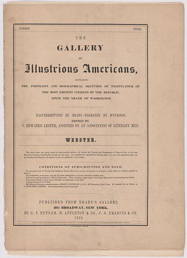 Biography of Daniel Webster. Date: 1850s. Record ID: npg_AD_NPG.79.20.c.