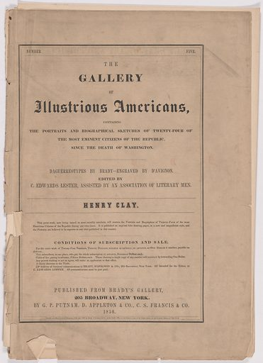 Biography of Henry Clay. Date: 1850s. Record ID: npg_AD_NPG.79.20.e.