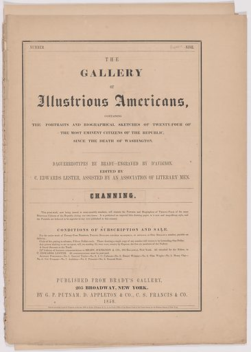 Biography of William E. Channing. Date: 1850s. Record ID: npg_AD_NPG.79.20.k.