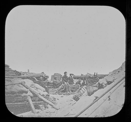 Pictures of the War, Two 50 Pounders, Whitworth Naval Breaching Battery Against Fort Sumter. Date: 1860s. Record ID: npg_AD_NPG.95.2.7.
