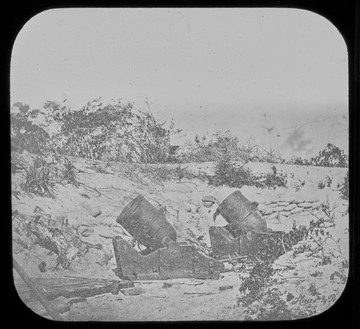 Pictures of the War, 4 Finch Seacrash Mortars Against Sumter, Battery Kirby. Date: 1860s. Record ID: npg_AD_NPG.95.2.9.