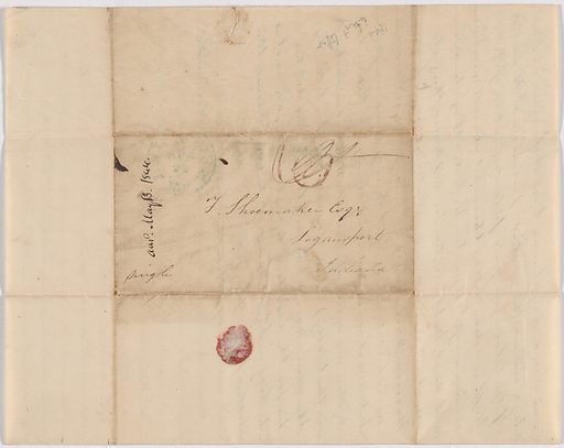 Letter from Mary Shoemaker to her father, F. Shoemaker. Date: 1840s. Record ID: npg_NPG.POB128.