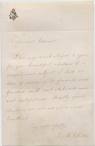 Letter to Auguste Edouart from Lydia Maria Child. Date: 1800s. Record ID: npg_AD_NPG.91.1.