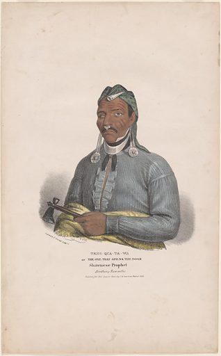 """Tenskwatawa [""""The Prophet""""]. Sitter: Tenskwatawa, c. 1775 – 1837. Date: 1830s. Record ID: npg_NPG.2001.92."""