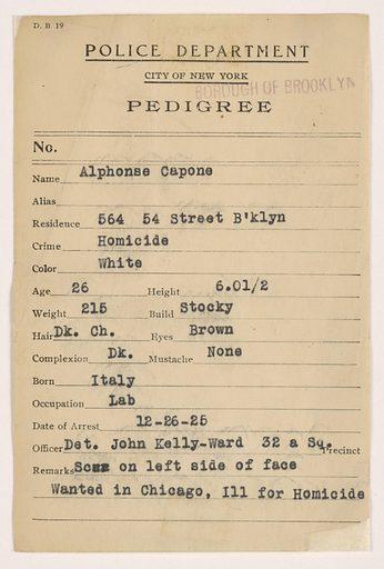 "Police ""Pedigree"" Document for Alphonse Capone. Date: 1920s. Record ID: npg_AD_NPG.97.5."