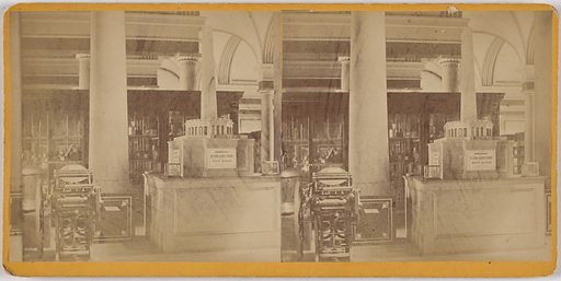 Third Floor South Wing of the Patent Office Building, Showing Patent Model Cases and Model of Washington Monument. Date: 1860s. Record ID: npg_NPG.POB169.