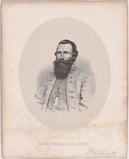 J. E. B. Stuart. Sitter: James Ewell Brown Stuart, 6 Feb 1833 – 12 May 1864. Date: 1880s. Record ID: npg_NPG.2008.115.