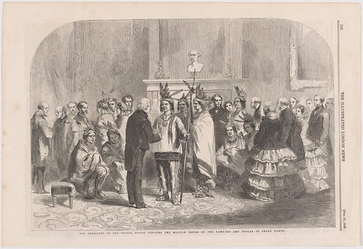 The President of the United States Inducing the Hostile Tribes of the Pawnees and the Poncas to Shake Hands. Sitter: James Buchanan, 21 Apr 1791 – 1 Jun 1868. Date: 1850s. Record ID: npg_NPG.2015.140.