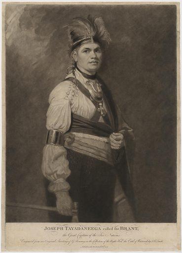 Joseph Tayadaneega called the Brant, the Great Captain of the Six Nations. Sitter: Thayendanegea, Mar 1743 – 24 Nov 1807. Date: 1770s. Record ID: npg_NPG.2015.101.