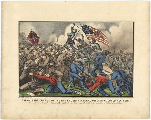 The Gallant Charge of the Fifty-Fourth Massachusetts (Colored) Regiment. Sitter: Robert Gould Shaw, 10 Oct 1837 – 18 Jul 1863. Date: 1880s. Record ID: npg_NPG.2016.104.