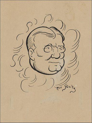 Finley Peter Dunne in Curves. Sitter: Finley Peter Dunne, 10 Jul 1867 – 24 Apr 1936. Date: 1930s. Record ID: npg_NPG.2019.87.