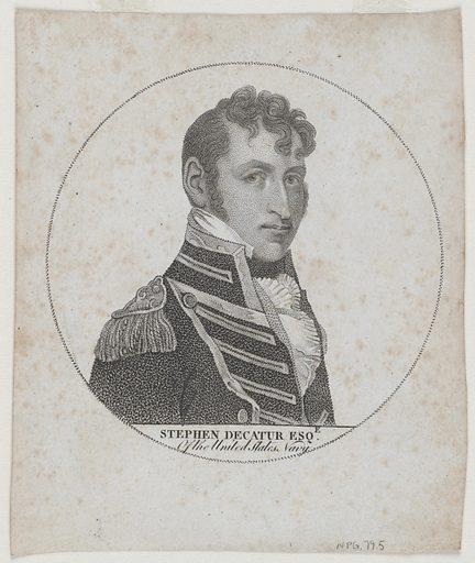 Stephen Decatur. Sitter: Stephen Decatur Jr., 5 Jan 1779 – 22 Mar 1820. Date: 1810s. Record ID: npg_NPG.79.5.