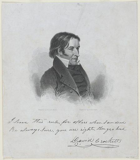 David Crockett. Sitter: David Crockett, 17 Aug 1786 – Mar 1836. Date: 1830s. Record ID: npg_NPG.79.8.