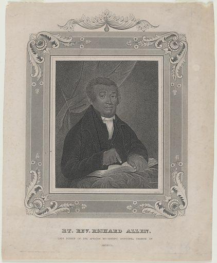 Bishop Richard Allen. Sitter: Bishop Richard Allen, 14 Feb 1760 – 26 Mar 1831. Date: 1830s. Record ID: npg_NPG.85.52.