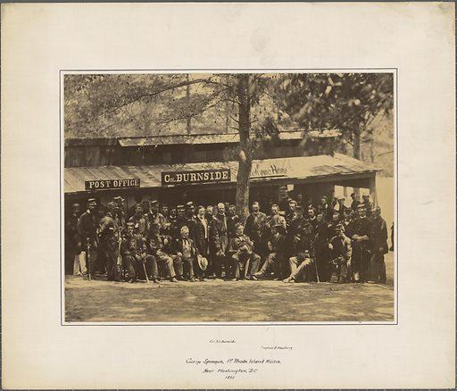 Burnside and the 1st RI Militia at Camp Sprague. Sitter: Ambrose Everett Burnside, 23 May 1824 – 13 Sep 1881. Date: 1880s. Record ID: npg_NPG.78.63.