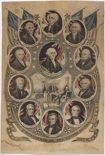 Presidents of the United States. Sitters: George Washington, 22 Feb 1732 – 14 Dec 1799; John Adams, 30 Oct 1735 – 4 Jul 1826; Thomas Jefferson, 13 Apr 1743 – 4 Jul 1826; James Madison, 16 Mar 1751 – 28 Jun 1836; James Monroe, 28 Apr 1758 – 4 Jul 1831; John Quincy Adams, 11 Jul 1767 – 23 Feb 1848; Andrew Jackson, 15 Mar 1767 – 8 Jun 1845; Martin Van Buren, 5 Dec 1782 – 24 Jul 1862; William Henry Harrison, 9 Feb 1773 – 4 Apr 1841; John Tyler, 29 Mar 1790 – 18 Jan 1862; James Knox Polk, 2 Nov 1795 – 15 Jun 1849. Date: 1840s. Record ID: npg_NPG.92.10.