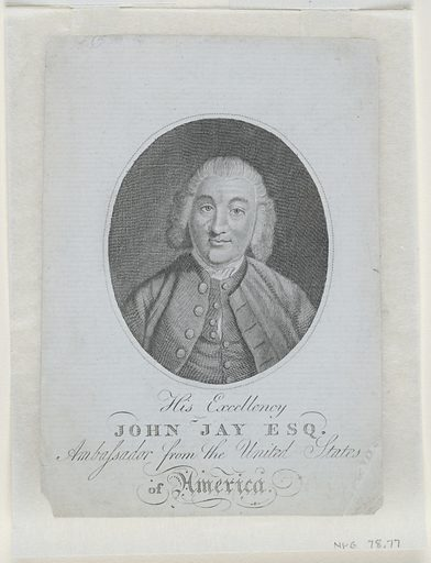 John Jay. Sitter: John Jay, 12 Dec 1745 – 17 May 1829. Record ID: npg_NPG.78.77.