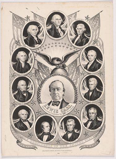 Lewis Cass. Sitters: Lewis Cass, 9 Oct 1782 – 17 Jun 1866; George Washington, 22 Feb 1732 – 14 Dec 1799; Thomas Jefferson, 13 Apr 1743 – 4 Jul 1826; James Monroe, 28 Apr 1758 – 4 Jul 1831; Andrew Jackson, 15 Mar 1767 – 8 Jun 1845; William Henry Harrison, 9 Feb 1773 – 4 Apr 1841; James Knox Polk, 2 Nov 1795 – 15 Jun 1849; John Tyler, 29 Mar 1790 – 18 Jan 1862; Martin Van Buren, 5 Dec 1782 – 24 Jul 1862; John Quincy Adams, 11 Jul 1767 – 23 Feb 1848; James Madison, 16 Mar 1751 – 28 Jun 1836; John Adams, 30 Oct 1735 – 4 Jul 1826. Date: 1840s. Record ID: npg_NPG.2001.6.