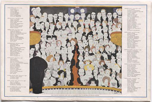 Chauve-Souris (program). Sitters: Nikita Balieff, 1877 – 3 Sep 1936; Al Jolson, 26 May 1886 – 23 Oct 1950; John Emerson, 1874 – 1956; Anita Loos, 26 Apr 1888 – 18 Aug 1981; Irving Berlin, 11 May 1888 – 22 Sep 1989; David Belasco, 25 Jul 1853 – 14 May 1931; Lenore Ulric, 21 Jul 1892 – 30 Dec 1970; John Barrymore, 15 Feb 1882 – 29 May 1942; Michael Strange, 1890 – 1950; Anna Pavlova, 1881 – 1931; Josef Hofmann, 20 Jan 1876 – 16 Feb 1957; Reina Belasco Gest, ? – 1948; John Drew, 13 Nov 1853 – 9 Jul 1927; Theodore Roosevelt, Jr., 13 Sep 1887 – 12 Jul 1944; Maria Jeritza, 6 Oct 1887 – 10 Jul 1982; Giulio Gatti-Casazza, 3 Feb 1869 – 2 Sep 1940; Geraldine Farrar, 28 Feb 1882 – 11 Mar 1967; Mary Garden, 20 Feb 1874 – 3 Jan 1967; Elsie de Wolfe, 20 Dec 1865 – 12 Jul 1950; Arthur Brisbane, 12 Dec 1864 – 25 Dec 1936; Millicent Willson Hearst, 1882 – 1974; Henry Blackman Sell, 1889 – 1974; Condé Montrose Nast, 26 Mar 1873 – 19 Sep 1942; Irene Foote Castle, 7 Apr 1893 – 26 Jan 1969; Francis Welch Crowninshield, 24 Jun 1872 – 28 Dec 1947; Gertrude Vanderbilt Whitney, 9 Jan 1875 – 18 Apr 1942; Kenneth MacGowan, 1888 – 1963; Alan Dale, 1861 – 1928; Ray Long, 1878 – 1935; Sam Bernard, 1863 – 1927; Marilyn Miller, 1 Sep 1898 – 7 Apr 1936; Ed Wynn, 9 Nov 1886 – 19 Jun 1966; Florence Jaffray Hurst Harriman, 1870 – 1967; Charles Dana Gibson, 14 Sep 1867 – 29 Dec 1944; Alexander Humphreys Woollcott, 19 Jan 1887 – 23 Jan 1943; Mrs. Lydig Hoyt, 1890? – 1930? Franklin Pierce Adams, 15 Nov 1881 – 23 Mar 1960; Neysa McMein, c. 1880 – 1949; Matthew Heywood Campbell Broun, 7 Dec 1888 – 18 Dec 1939; Doris Keane, c. 1885 – 1945; Percy Hunter Hammond, 1873 – 1936; Moranzoni, 1880? – 1940? Ann Haven Morgan, 1882 – 1966; Robert Burns Mantle, 1873 – 1948; Anne Harriman Sands Rutherfurd Vanderbilt, ? – 1940; Willard Huntington Wright, 1888 – 11 Apr 1939; S. Jay Kaufman, 1886 – 1957; Herbert Bayard Swope, 5 Jan 1882 – 20 Jun 1958; Walter Catlett, 1889 – 1960; Sophie Braslau, 1882 – 1935; Dorothy Gish, 