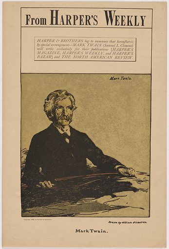 Samuel Clemens. Sitter: Samuel Langhorne Clemens, 30 Nov 1835 – 21 Apr 1910. Date: 1900s. Record ID: npg_NPG.91.88.