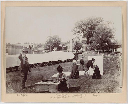 "Mr. & Mrs. Clayton. Sitters: Mr. Clayton; Mrs. Clayton; Maria Sweet; Margaret ""Daisy"" Sutermeister, 1875 – 1950. Date: 1900s. Record ID: npg_S_NPG.2007.114."