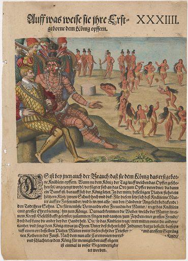 Sacrifice of the first-born. Sitters: Olata Ouae Utina, 1539 – ? Rene de Laudonniere, c. 1529 – 1574. Date: 1590s. Record ID: npg_NPG.2018.58.