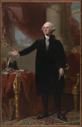 George Washington (Lansdowne Portrait). Sitter: George Washington, 22 Feb 1732 – 14 Dec 1799. Date: 1790s. Record ID: npg_NPG.2001.13.