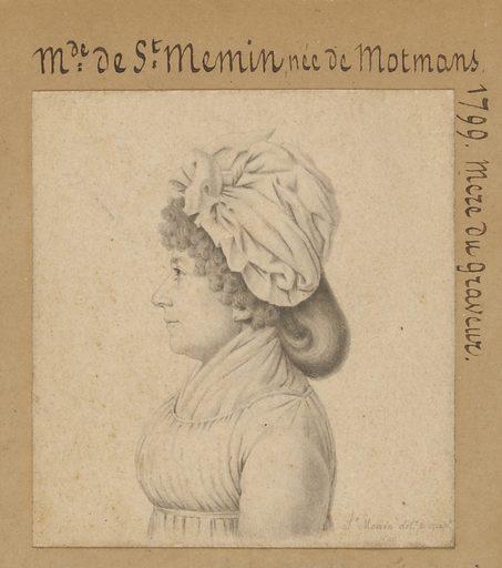Marie-Victoire Févret de Saint-Mémin. Sitter: Marie-Victoire Févret de Saint-Mémin, 1746 – 1832. Date: 1790s. Record ID: npg_S_NPG.74.39.1.4.