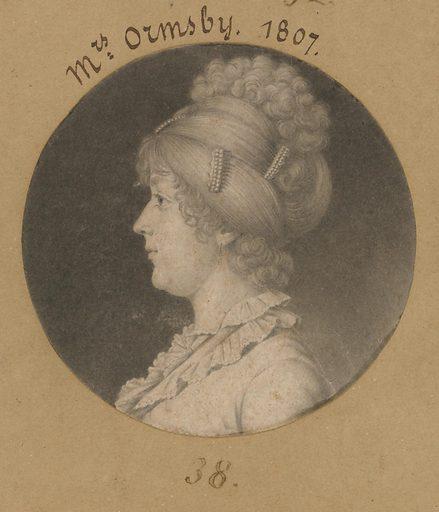 Sarah Mahon Ormsby. Sitter: Sarah Mahon Ormsby, 1781 – 1825. Date: 1800s. Record ID: npg_S_NPG.74.39.1.38.