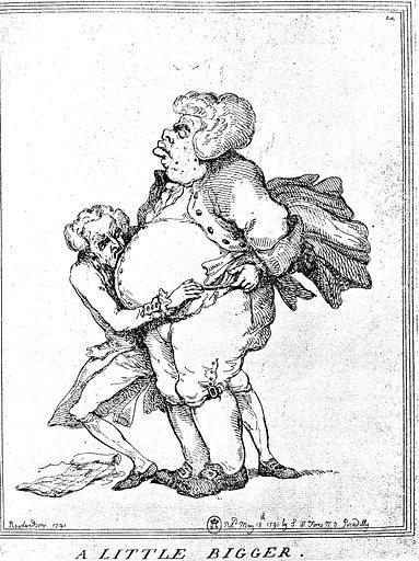 "Rowlandson ""A little bigger"". Caricature. Contributors: Thomas Rowlandson. Work ID: kuhvcxhy."