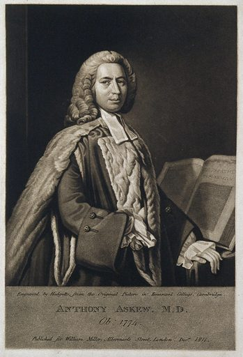 Anthony Askew. Mezzotint by T Hodgetts after A Ramsay. Anthony Askew (1722–1774). Contributors: Allan Ramsay (1713–1784); T Hodgetts. Work ID: n46xumbz.