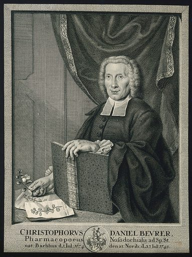 Christophorus Daniel Beurer. Line engraving by G M Preisler, 1745, after himself. Created 1745. Christophorus Daniel Beurer (1674–1742). Contributors: Georg Martin Preissler (1700–1754). Work ID: pvs66m3r.