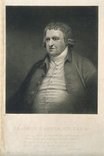 Erasmus Darwin. Stipple engraving by J Heath, 1804, after J Rawlinson. Created 1804. Erasmus Darwin (1731–1802). Contributors: James Rawlinson (1769–1848); James Heath (1757–1834). Work ID: ecstsjcu.