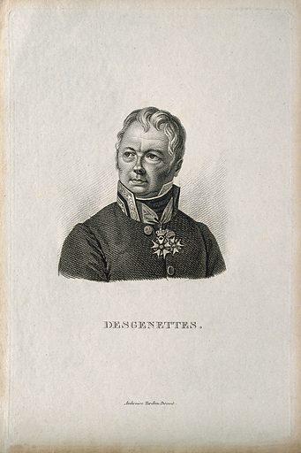 Nicolas-René-Dufriche, Baron Desgenettes. Stipple engraving by A Tardieu. R baron Desgenettes (1762–1837). Contributors: Ambroise Tardieu (1788–1841). Work ID: vdrsv9vb.