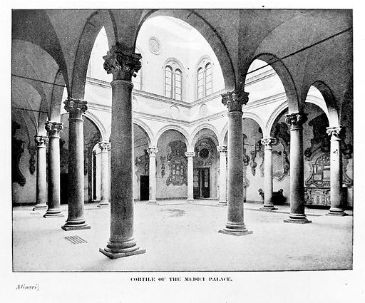 Cortile of the Medici Palace. Cortile of the Medici Palace in Florence. Work ID: zgseg22z.