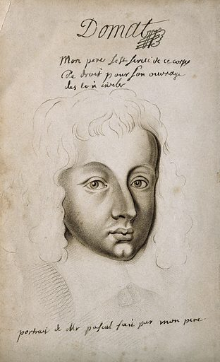 Blaise Pascal. Stipple engraving, 1844, after J Domat, 1637
