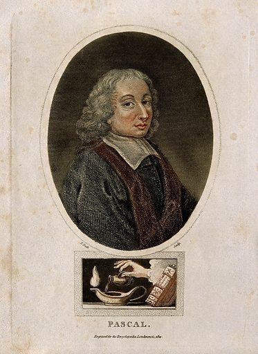 Blaise Pascal, portrait in oval, with a vignette of a lamp beneath